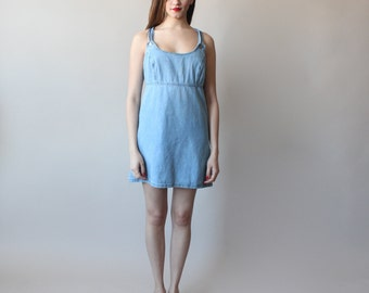 SALE 50% OFF  denim dress / denim jumper dress / 1990s / small - medium