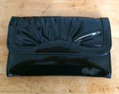 Vintage Black Patent Leather Clutch Purse W/Strap