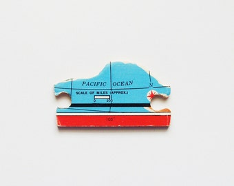 Pacific Ocean Wood Brooch - Lapel Pin - Pendant / Upcycled Vintage 1961 Wood Puzzle Piece, Red Turquoise Wearable History Pin, Gift Under 15