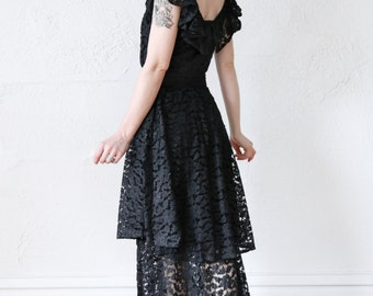SALE- 1930s Lace Maxi Gown . SMALL