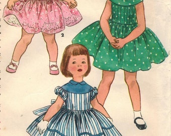 1950s Simplicity 1220 Vintage Sewing Pattern Girl's Party Dress, Full Skirt Dress Size 6