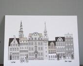 Copenhagen Grey Print A4 - Cityscape Illustration Print -  Scandinavian Print