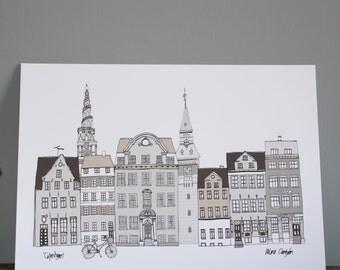 Copenhagen Print -  Cityscape A4 Illustration Print -  Scandinavian Print