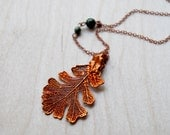 Medium Fallen Real Copper Oak Leaf Necklace - REAL Oak Leaf