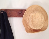 antique peg rack - handmade wooden three peg coat hat wall storage