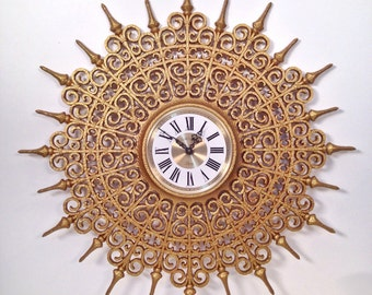 vintage wall clock frame - large gold starburst - vintage glam Hollywood Regency