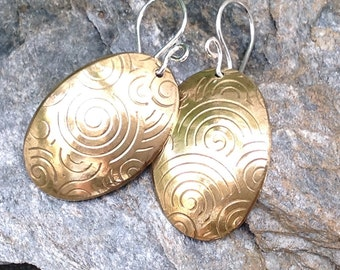 Artisan Brass Oval Tag Earrings Satin Finish Handcrafted Jewelry, Mixed Metal Handmade Earrings