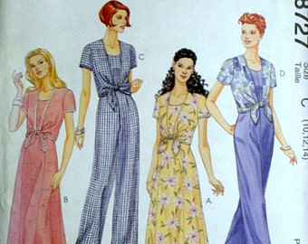 Easy McCall's 8727 Misses' Dress and Jumpsuit Sewing Pattern, Sizes 10-12-14, Bust 32.5-34-36, Uncut Factory Folded