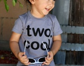"TWO. COOL. Toddler Baby Boy, Girl, ""two cool"" 2 year old Birthday shirt - Grey Red Fuchsia Olive Black - Etsy kid's fashion, clothes 2nd"