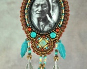 Necklace, sitting bull,  Bead Embroidered Necklace, glass, beaded, western, history