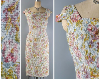 Vintage 50s Dress // 1950s Dress // Lurex Dress // Floral Dress // Cold Shoulder Dress //Wiggle Dress - sz M - 28 Waist