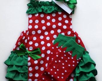 Sweet Strawberry Ruffle Bottom Bubble Romper 3 Piece Set. Romper Leg Warmers Headband. Newborn Baby Toddler Big Girl Size Newborn - 6
