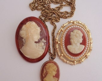 Vintage faux cameo jewelry lot Cameo necklace Cameo brooches Cameo wear recycle