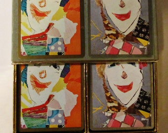 Complete Set 2 Decks Congress Clown Playing Cards in Case