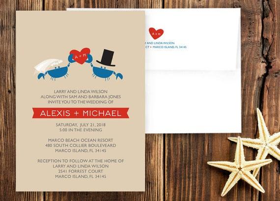 Crab Wedding Invitation Suite