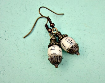 Recycled Antique White Paper Bead Rustic Brass Dangle Earrings: Biologie