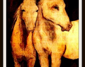 Horses Art Print, Horse couple, Print of Painting Art Poster 8 X 10
