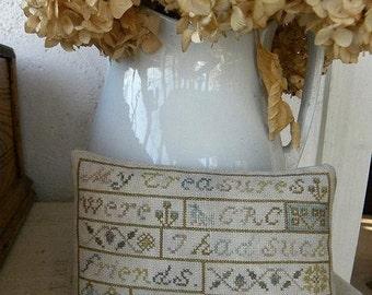 Primitive Cross Stitch Pattern - My Treasures