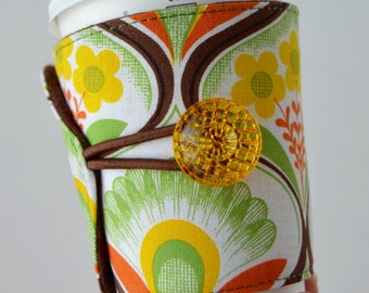 Retro Coffee Cup Cozy that is Eco Friendly & Adjustable for hot AND cold drinks - READY to SHIP
