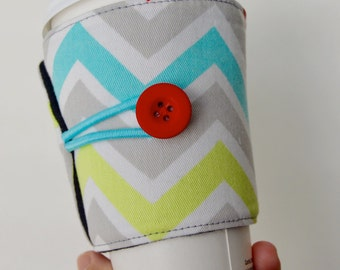 Chevron Cup Cozy Adjustable for hot coffee, tea and cold soda drinks - READY TO SHIP