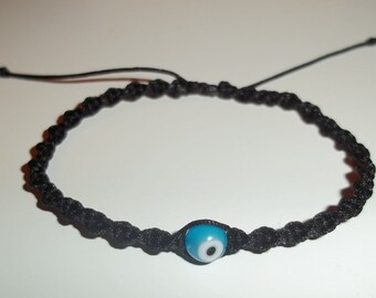 Black and Turquiose Evil Eye Adjustable Macrame Bracelet - Envy Protection - Mal de Ojo - Free Shipping in US & PR!