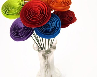 One Dozen Spiral Paper Roses with Stems - Small Size Rainbow Flowers
