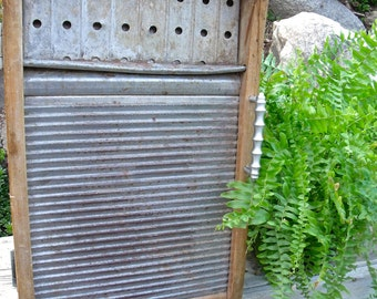 "WASHBOARD CABINET-REcycled from a RARE, anTiQue All MeTaL""Our Own"" Washboard- into a WaLL Cabinet-A Great MeDicine CaBiNeT or Spice Cupboard"