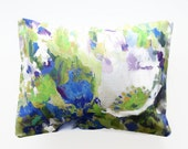 12 x 16 inch lumbar decorative pillow cover, blue green white lilac flowers cushion cover
