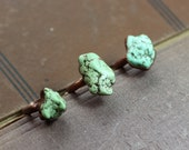 Mint Green Howlite Ring ~ Copper Electroformed Seafoam Green Gemstone Nugget Ring Rustic Jewelry Size 4 1/2 to 5 1/2