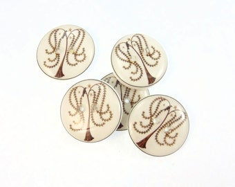 """5 Primitive Crow ;and Willow Tree Buttons 3/4"""" or 20  mm Round. Knitting Supplies."""