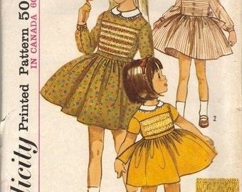 1960s Simplicity 6147 Girls Full Skirted Dress Pattern Childs Vintage Sewing Pattern Size 6  Breast 25