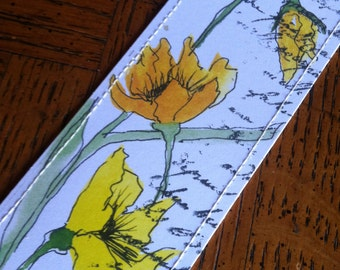 Watercolor Bookmark of Yellow Poppies