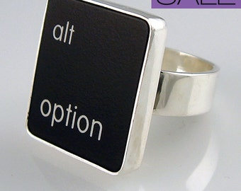 SALE - Computer Key Jewelry - Sterling Silver Size 5 Black or Size 4 White ALT OPTION Key Ring