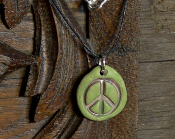 Peace Sign, Pendant Necklace, Green