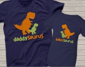 Dinosaur theme daddysaurus and babysaurus matching dad and kiddo DARK t-shirt or bodysuit gift set - great gift for Father's Day
