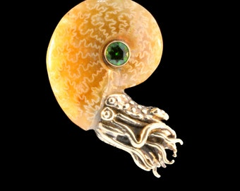 Gold Fossilized Ammonite Nautilus Necklace Chrome Diopside Ammonite Pendant Ammonite Jewelry Shell Jewelry Tentacle Jewelry Octopus Kraken
