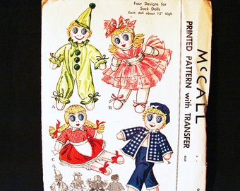 1950s Sock Doll Pattern McCalls Clown Sock Doll, Ballerina Sock Doll, Girl Sock Doll, Sailor Doll