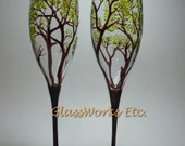 Champagne Toasting  Flutes Hand Painted Summer Trees - Set of 2