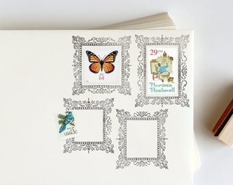 Postage Picture Frame Rubber Stamp for envelopes: Ornate