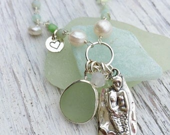 Sea Glass and Mermaid Pendant Charm Necklace