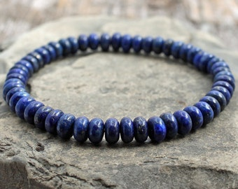 lapis lazuli stretch bracelet with lapis rondelles, May birthstone, October birthstone, mens royal blue lapis bracelet, minimalist, 7.5 inch