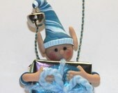 Turquoise Christmas Elf Ornament