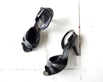Vintage 50s Shoes | Black High Heels| 1950s Shoes | Size 7