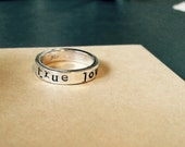 Purity Ring - True Love Waits Silver Band (English or Latin) - Promise Ring, Sterling Silver, Chastity Band