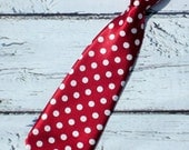 Crimson Red Polka Dot Neck tie baby Neck Tie Boys Neck tie infant toddlers kids tie, roll tide, cake smash, birthday neck tie, photo prop