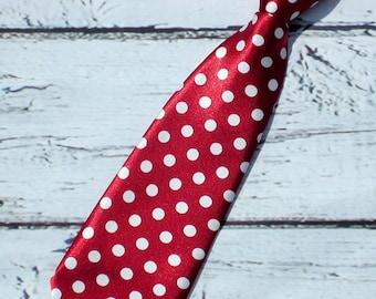 Crimson Red Polka Dot Neck tie baby Neck Tie Boys Neck tie infant toddlers kids neck tie, cake smash, birthday neck tie, photo prop
