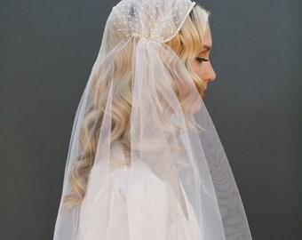GOLD Juliet Cap Veil, Russian Net Veil Crystal Edge Veil, Ivory Tulle Veil Gatsby BOHO Veil Bohemian Veil Waltz Length Veil, Long Veil #1208