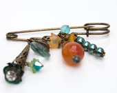 Orange and Teal Vintage Style Pin With Carnelian Czech Glass Briolette Swarovski Crystals and Pearls