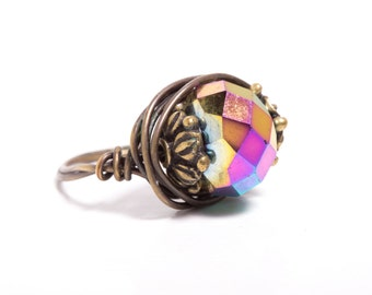 Metallic Rainbow Chinese Crystal Antiqued Bronze Wire Wrapped Ring