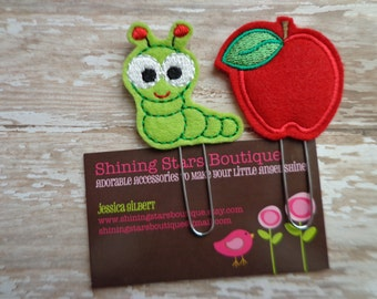 Planner Accessories - Lime Green Worm And Red Apple Paper Clip Or Bookmark Set - Back To School Accessory For Teachers Or Students